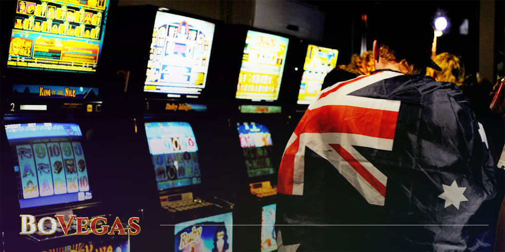 History Australian Flag on the guy near pokies