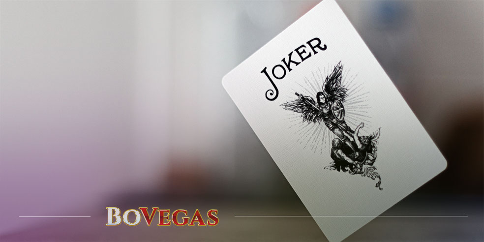 Casino Joker card on the flour